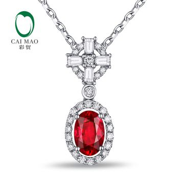 CAIMAO Women's 18k Gold Natural 0.70ct Ruby & 0.26ct Diamond Pendant Necklace