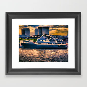 Harbour at Twilight Framed Art Print by lanjee