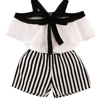 Adorable black and white stripe romper