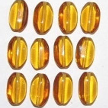 Czech glass Amber flat Oval Translucent  beads
