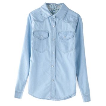 Casual Polo Collar Double Pockets Solid Color Long Sleeves Denim Women's Shirt