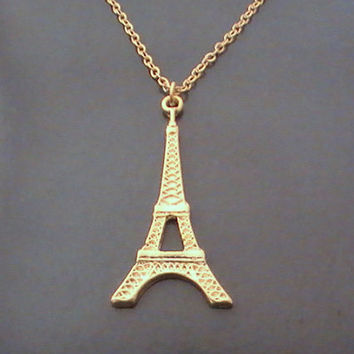 Eiffel Tower Necklace, Eiffel Pendant, Gold Necklace, Eiffel Gold Charm, Paris, Birthday Gift, Bestfriends Gift by Crystalshadow on etsy