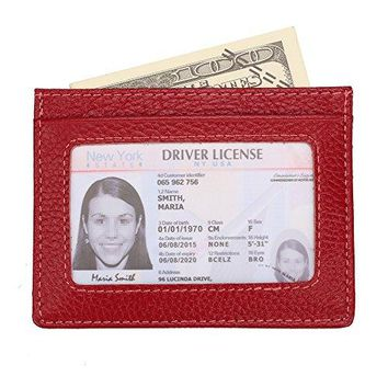 Genuine Leather Minimalist Slim Front Pocket Wallet for Women Men with Card Slots ID Window