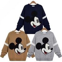 New 2019 AUTUMN winter women ladies mickey knit sweater Cute Cartoon O-neck Long Sleeve Loose Casual Pullover jumper femme