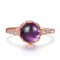 Purple Natural Amethyst Gemstone 925 Sterling Silver Rings