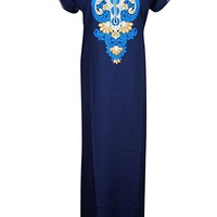 Mogul Womens Caftan Nightgown Neck Embroidered Boho Maxi Caftan House Dress L