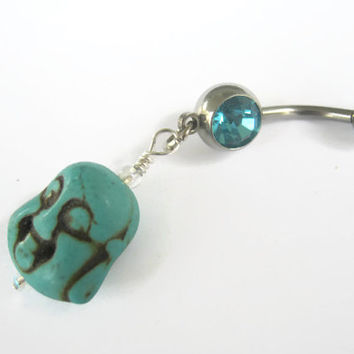 Buddha Belly Ring, Turquoise Howlite Buddha Belly Button Ring, Buddhist Om Navel Piercing, Tibet, Yoga Inspired, Buddhist Body Jewelry