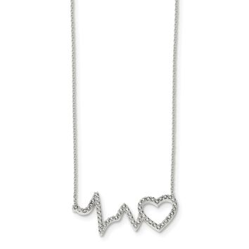925 Sterling Silver Polished Cubic Zirconia Heartbeat 18in Necklace 18 Inch