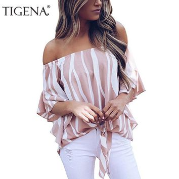 TIGENA Fashion Women Blouse Summer Off Shoulder Striped Chiffon Blouse Shirt Women Top Female Femininas Chemise Femme Pink