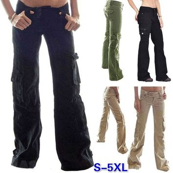 2017 Solid Color Loose Jeans Cargo Pants Women's Trousers with Pockets Ladies Full Length Casual Jeans(S-5XL)