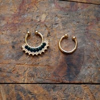 Set of 2 Gold Clip On Nose Ring, Rhinestone Faux Septum Piercing