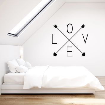 Vinyl Wall Decal Love Word Arrows Hearts Romantic Room Decoration Stickers Mural (ig5324)