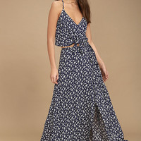 Way You Sway Navy Blue Floral Print Maxi Skirt