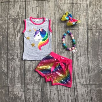 2018 new arrivals Summer outfit hot pink unicorn shorts set grey Sequins boutique baby kids wear with matching accessories sets