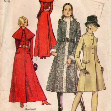 Retro Fashion 70s Simplicity Sewing Pattern 9019 Winter Fall Long Coat Fitted Waist Button Front Flared Skirt Extra Wide Cape Style Collar