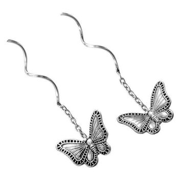 Sterling Silver Butterfly Threader Dangle Earrings for Women