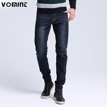 2017 VOMINT Brand New Men Washed Jeans Skinny Fit Jeans men Robin Casual Stretch jeans Brand Large Size black blue jeans S6AJ019