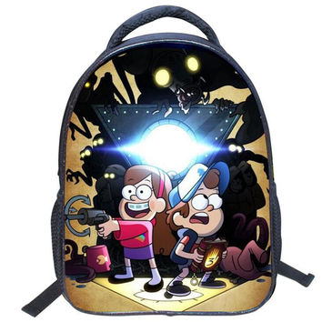 2016 Fashion Cartoon Gravity Falls Kids Backpack Kindergarten School Bag 14 Inch Children Printing Backpack Girls Boys Mochila