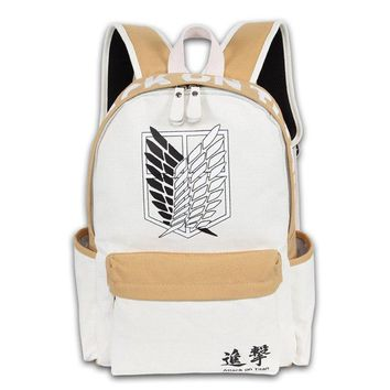 Cool Attack on Titan New Men Women Boy Girls Japan Anime  Book Bag White Brown Color Mixed Backpack Mochila Student Travel AT_90_11