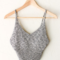 Sweater Knit Crop Top - Heather Grey