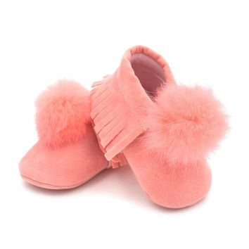 Fashion Baby Infant Boys Girls Winter Boots Toddler Soft Crib Shoes Solid Color Leather Fringe Shoes