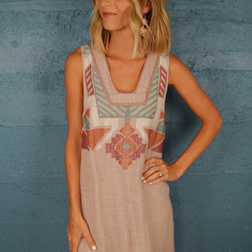 Fort Collins Embroidered Dress Taupe