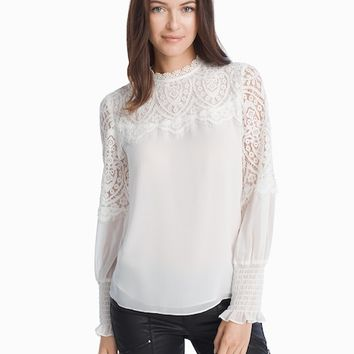 White House Black Market Lace Yoke Blouse