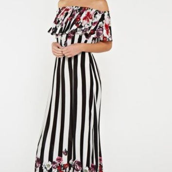 Black and White Striped Floral Accent Off the Shoulder Maxi Dress