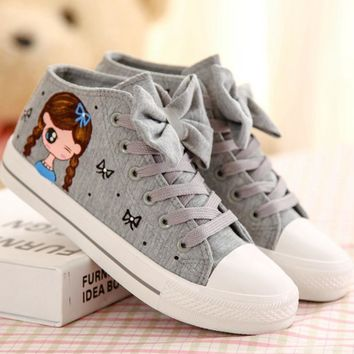 Gray Hand-Painted Bowknot Canvas Sneakers