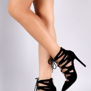 Anne Michelle Pointy Toe Cutout Lace Up Pump
