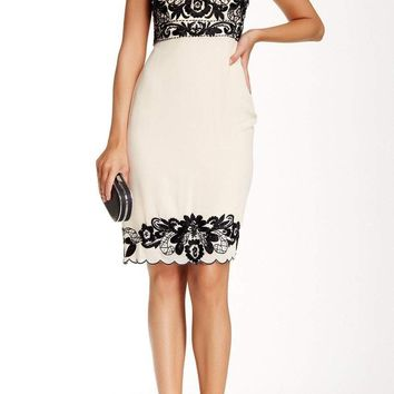 Sue Wong - Floral Embroidered Trim Sheath Dress R5105