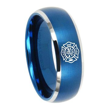 10mm Fire Department Dome Brushed Blue 2 Tone Tungsten Wedding Engagement Ring