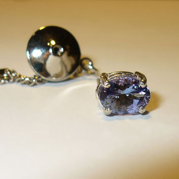 Genuine Tanzanite Tie Tack or Lapel Pin in Sterling - Genuine Natural Gemstone