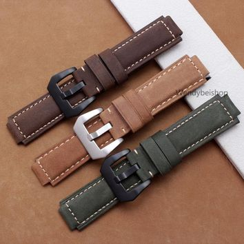 24mm*16mm Men Women Suede Green Brown Real Leather Handmade Thick Wrist Watch Band Band Strap Belt Buckle For Garmin vivoactive