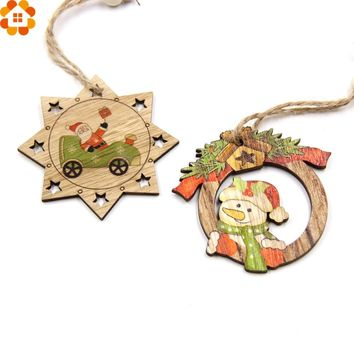 10PCS Christmas Wooden Pendants Santa Claus&Snowman Ornaments DIY Christmas Party Decorations Xmas Tree Ornaments Kids Gifts