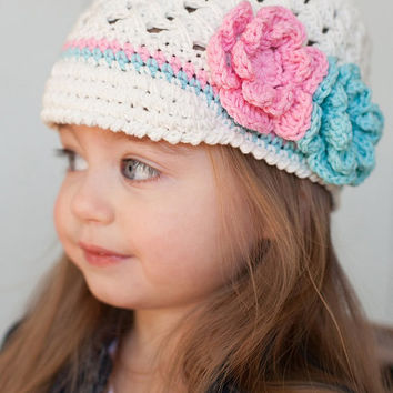 Crochet Visor Hat - Toddler Girl Hat, Baby Girl Spring Beanie in Off-white, 12 months to 4 T size