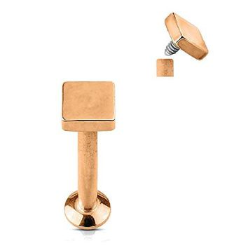 BodyJ4You Tragus Earring Cartilage Square Stud Rose Goldtone Steel Barbell 6mm 16G 1.2mm Piercing Jewelry