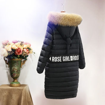 2016 Winter Jacket women down jackets medium-long fur Hood down coat thickening slim casual Women's winter outerwear plus size