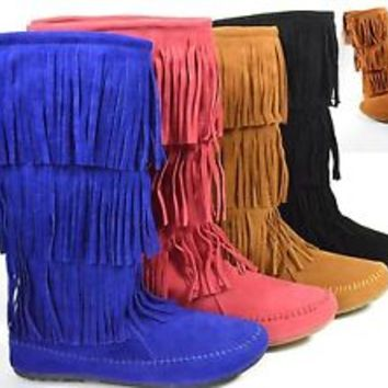 New Fringe Moccasin Mid Calf Flat Womens Boots Round Toe  in Blue