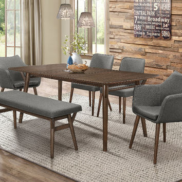 Home Elegance HE-5548-72-6PC 6 pc Stratus brown finish wood mid century modern dining table set