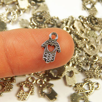 10 Pcs - 11x7.5mm Tiny Tibetan Silver Hamsa Charms - Tiny Charms - Hand Of Fatima - Jewelry Supplies