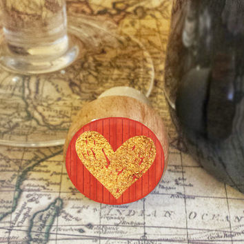 Wine Stopper, Gold Heart Handmade Wood Cork, Handrawn Heart Bottle Stopper, I Love You Gift, Wood Top Cork Stopper, Valentine's Day Gift