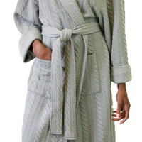 Cable Knit Matelasse Robe in Gray