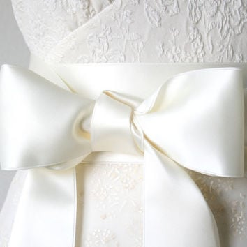 Ivory White Bridal Sash ~ 1.5, 2 and  2.75 Inches Wide