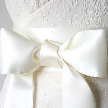 Satin Ribbon Wedding Belt - Ivory White,  2.75 Inches Wide