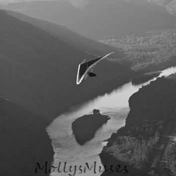 Black and White Photography - Pennsylvania Hang Gliding Art Print