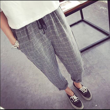 Striped Elastic waist Cotton Loose Women Wide Leg Pants Summer New Casual Brand Pants High quality Plus size Girl Harem Trousers
