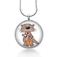 Otters Christmas Necklace with candy cane and gingerbread- Sea life,ocean,wearable Art,Handmade,silver gifts for Her