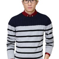 Striped Color Block Ribbed Trim Knitted Sweater