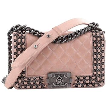 Chanel Chained Boy Flap Bag Quilted Glazed Calfskin Small